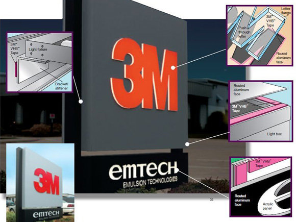 3M VHB 4614F high temperature tape for illuminated signs