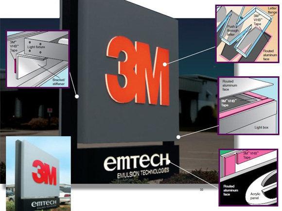 Двойнозалепваща лента 3M High Grade 4614F за светещи табели, тотеми, букви