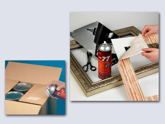 3M Spray Adhesive bonds frames and cardboard