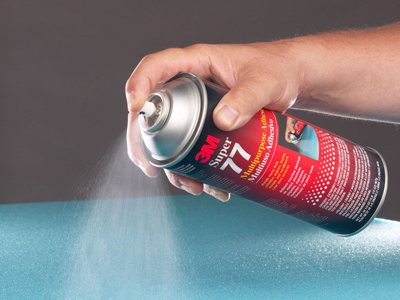 3M Super 77 spray adhesive is used to bond foam materials