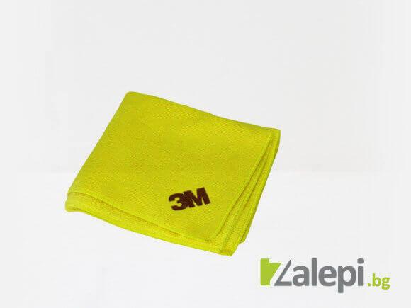 Yellow 3M microfiber cloth cleans dust, fingerprints, waxes