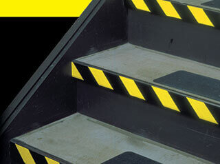 Hazard markings on stairs with 3М 5702 safety stripe tape