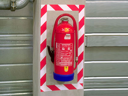 Fire extinguisher safety marking with 3M 767 Tape